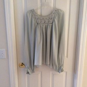 Beautiful sea foam green full sleeve shear blouse